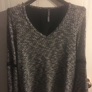 Black and white knit blouse
